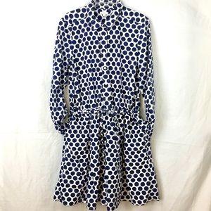 GAP navy dot print button front dress sz L Tall